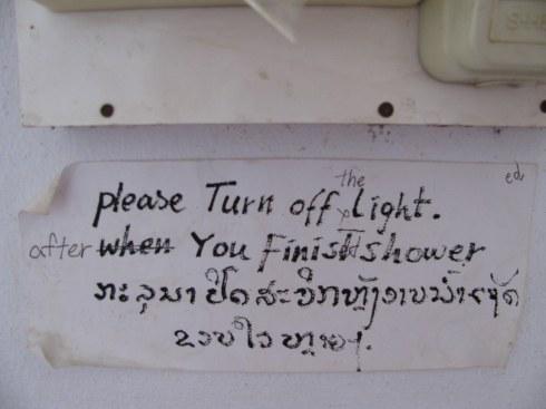 Sign, Friendship Guest House, Houay Xai, Laos