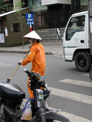 Street sweeping, Saigon, Vietnam