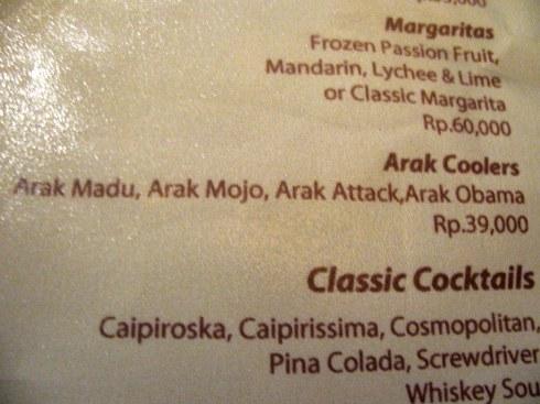 Buddhalicious cocktail list, Menu, Laughing Buddha, Ubud, Bali, Indonesia