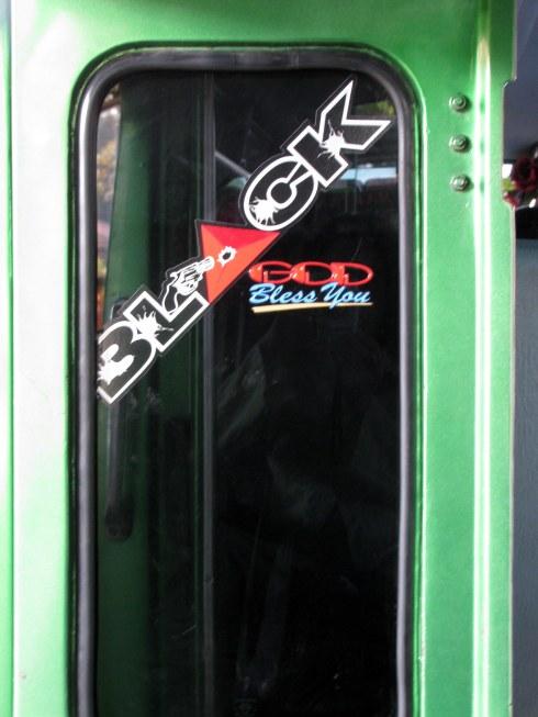 Bemo (minibus) door, Maumere, Flores, Indonesia