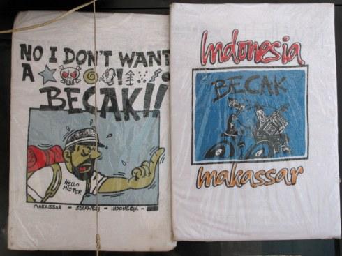 T-shirts for sale, New Legend Hostel, Makassar, Sulawesi, Indonesia