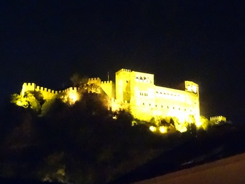 View from the rooftop of my hostel in Leiria, Portugal: Castelo de Leiria by night